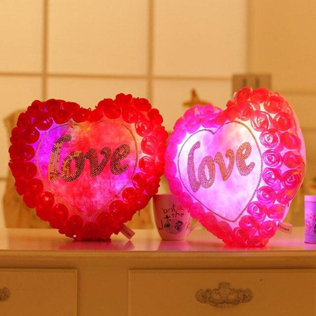 Lumineux Fleurs D Amour De Coeur En Peluche Oreiller Clignotant Led