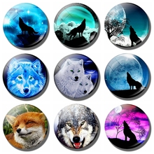 Wolf and Moon Art Home Decoration - 30 MM Fridge Magnet Animal Glass Cabochon Magnetic Refrigerator Stickers Kitchen Accessorie