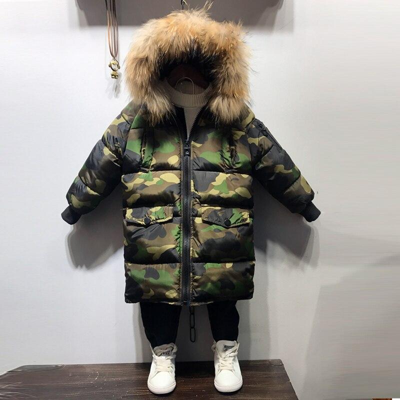 Camouflage  Boys Winter Jacket warm thickness coats hooded Jongens Winterjas