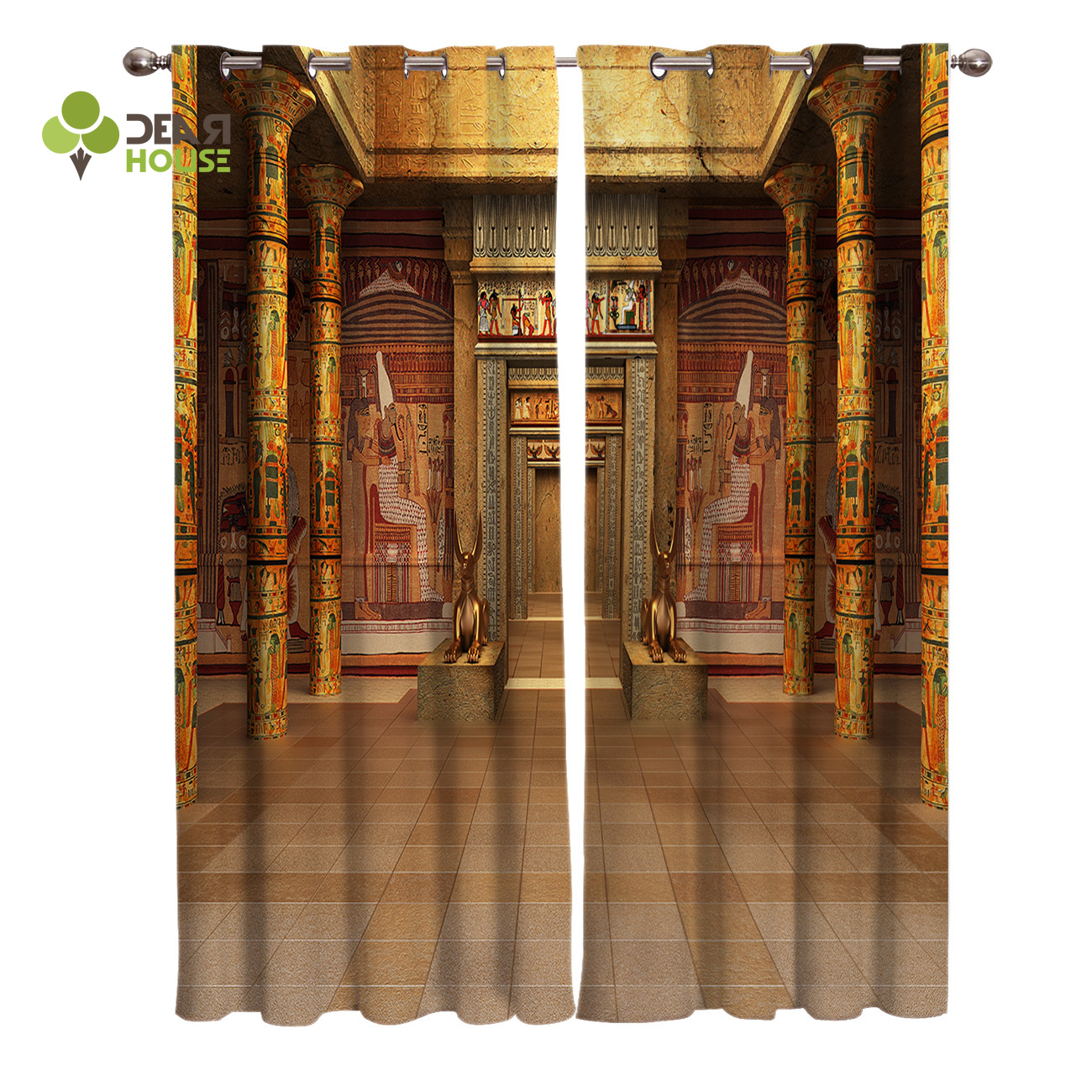 Curtains Egypt Ancient Gold Palace Window Curtain Living Room Bedroom Home Decoration Panel Window Treatment