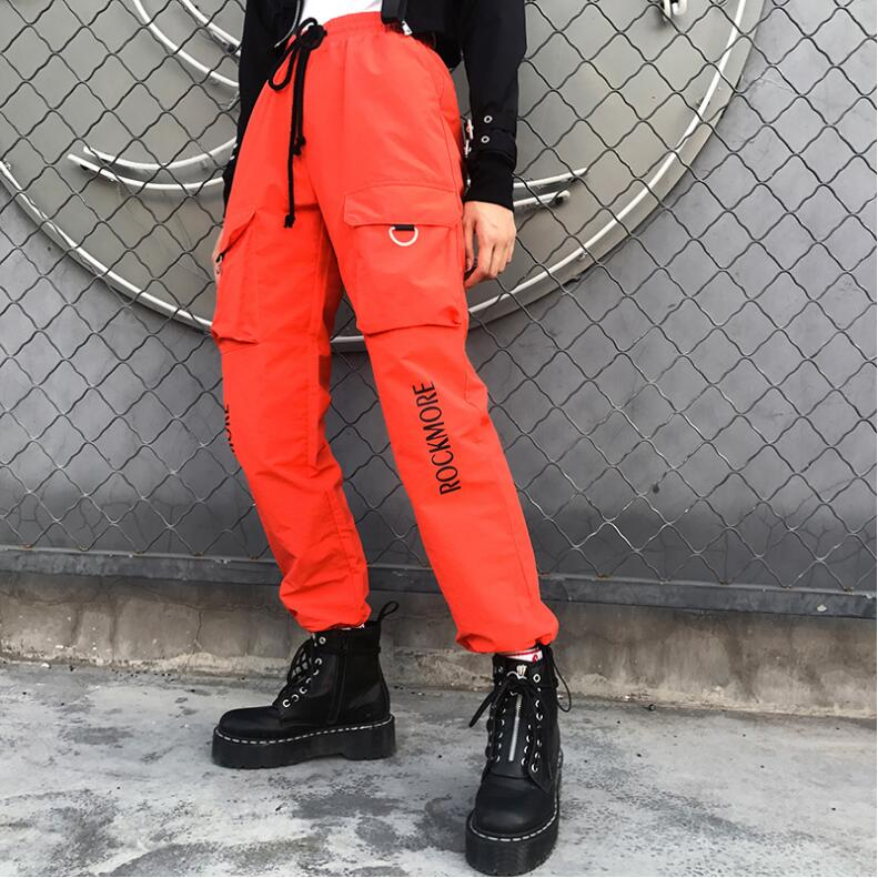 Elastic High Waist Pants Women Letter Printed Harem Pants Capris Streetwear Ladies Trousers Pockets Joggers Womens