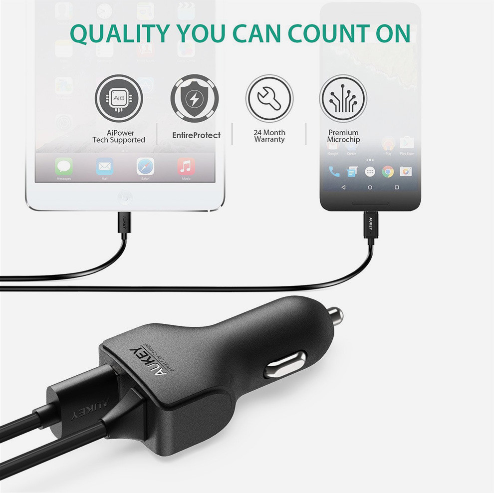 AUKEY AIPower Car phone Charger with Type-C cable (3)