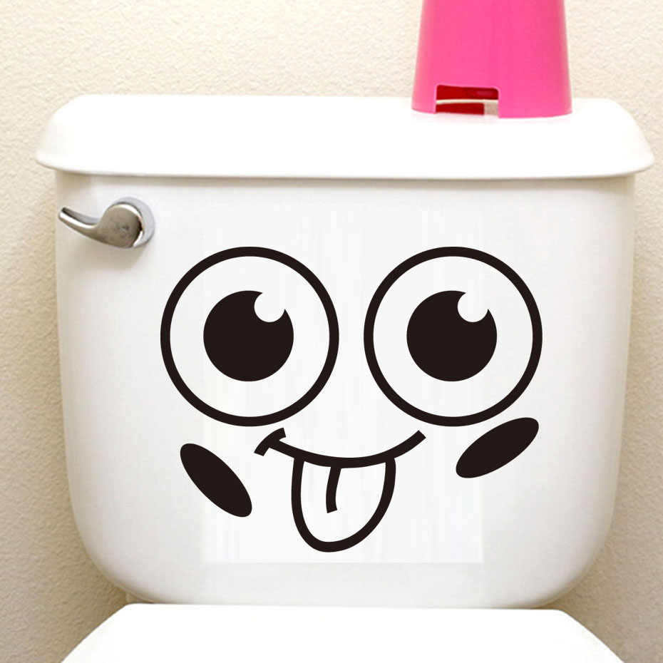 Big Smile Face Cartoon Toilet Seat Sticker Diy Wall Stickers Home Decor Wall Art Murals Waterproof Adhesive Funny Washroom Decor