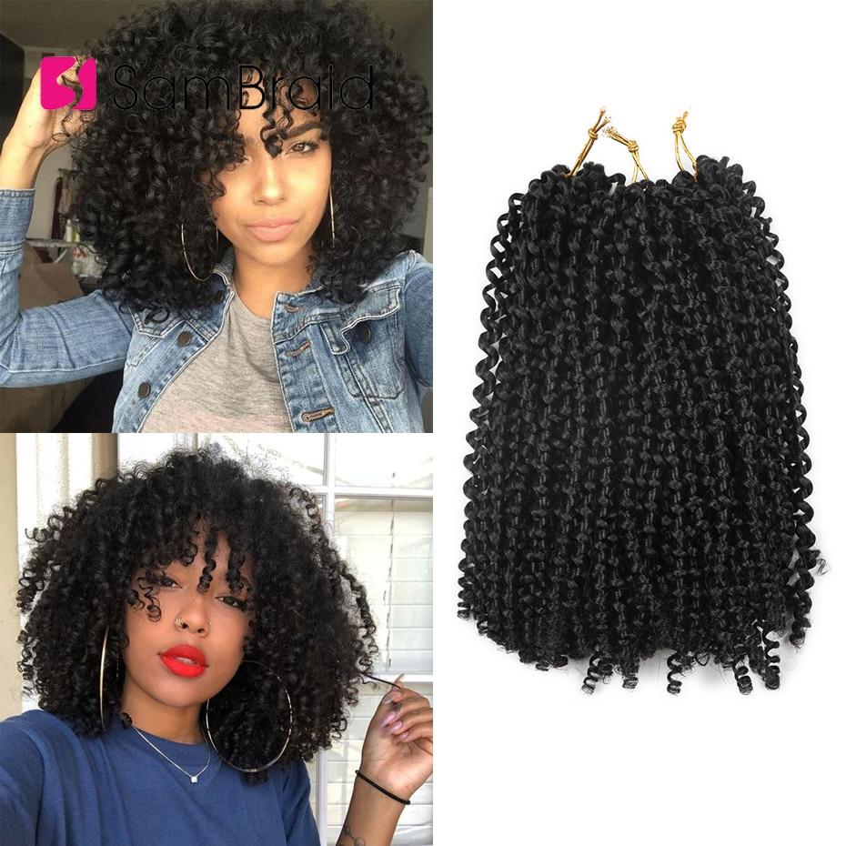 Sambraid 3Packs A Lot Bohemian Curl Crotchet Braids Hair 120G Per Pack Kanekalon Braiding Hair 12 Stands 10Inch Synthetic Hair