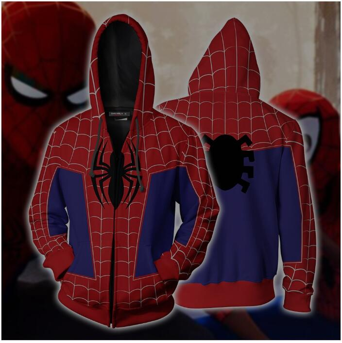 Spider-Man: Into the Spider-Verse Peter Parker Cosplay Zip Up Hoodie Jacket 2019 Sweatshirts Tracksuit Casual hooded clothing