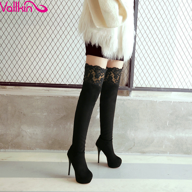 ФОТО VALLKIN Black 2016 Sexy Winter Long Boots Women Shoes Over The Knee Boots Lady Thin High Heel Platform Fashion Boots Size 34-43
