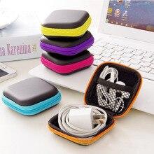 Hot Mini Zipper Hard Headphone Case PU Leather Earphone Case Storage Bag Protective USB Cable Organizer