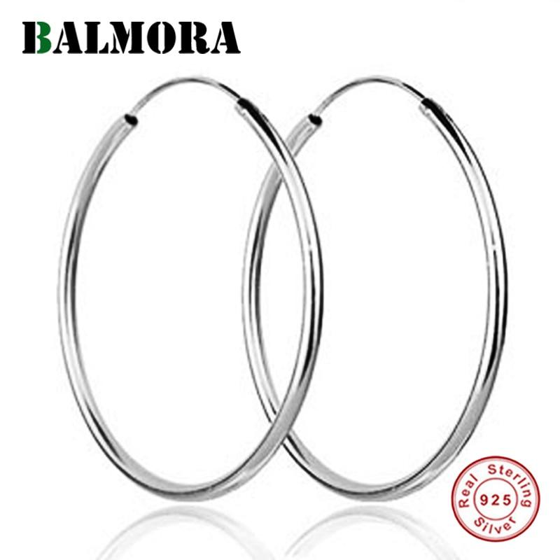 Balmora 100 Real 925 Sterling Silver Big Hoop Earrings For Women