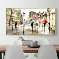 Oil Painting Paris Streets Red Umbrella Mosaic Picture Full Diamond Painting Style Living Room Decoration Round
