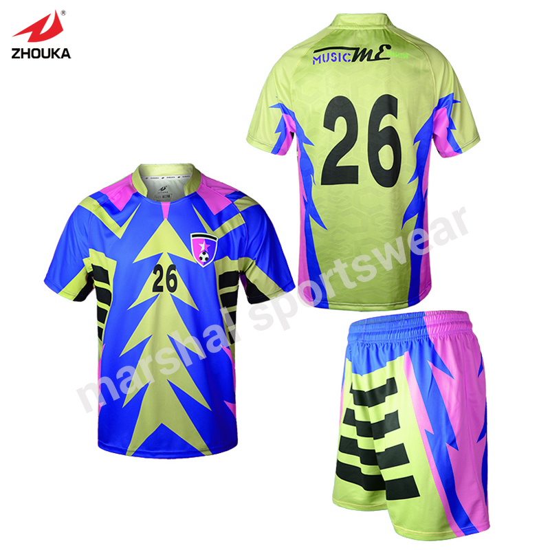 Mixcolor Blue Dry Fit All Sublimation Custom Soccer Shirts