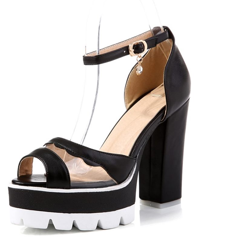 ФОТО Women Buckle Strap high Heels pumps 2016 Platform Shoes Party with Open Toe Sandals