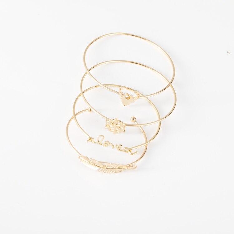 2018 New multi-layer bracelet four-piece gold snow deer head leaf bracelet set for famele free shipping 3