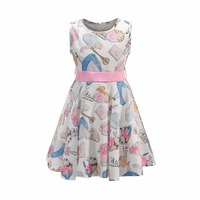 Bongawan Bow Cartoon Girls Flower Dress Snow White Prints Dressed Up For Party And Wedding Summer