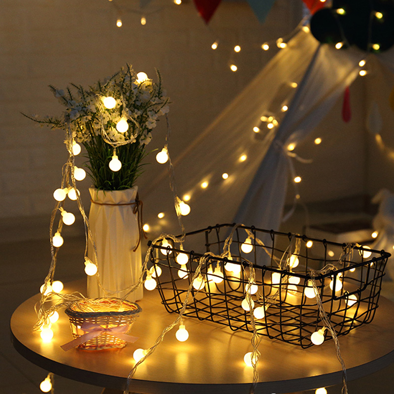 LED Ball String Lights 2M 20LEDs  Fairy Garland Indoor For Christmas New Year Wedding Home Ramadan Decoration Battery Powered