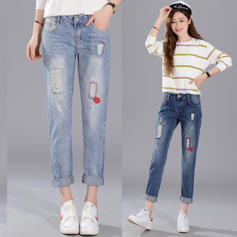 Spring and summer new women's nine pants embroidery to do the old wear loose loose Halun jeans TB7131