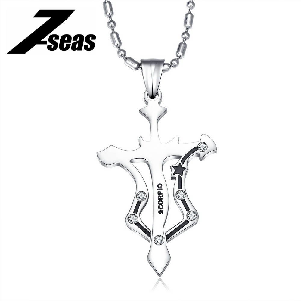 7SEAS Fashion 12 Zodiac Signs Constellations Pendants Necklace Stainless Steel Austrian Crystal Jewelry For Women and Man,JM435