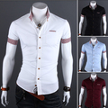 Venda por atacado! dos homens livres do transporte curto-camisa xadrez de mangas compridas-camisa de manga curta decorado com alta qualidade de 4 cores tamanho M-XXL
