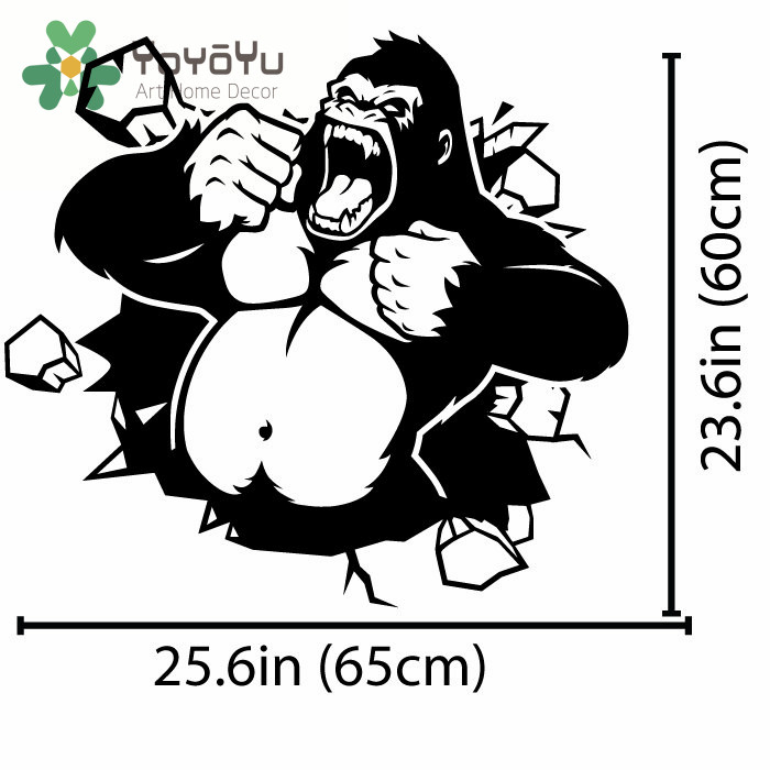 Gorilla monkey wall decal art decor sticker vinyl art gorilla decal king kong monkey decal living room decor poster ny 87 in wall stickers from home