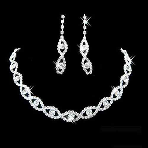 Women Rhinestone Twisted Necklace Dangle Earrings Wedding Jewelry Set Luxury Design Stainless Steel Woman Bridal Jewelry Sets