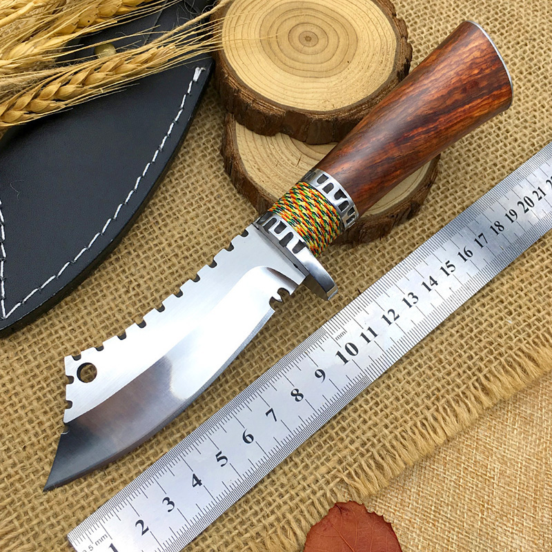 High quality camping knife outdoor hunting knives Chinese style Dalbergia handle handmade survival Scimitar facas leather
