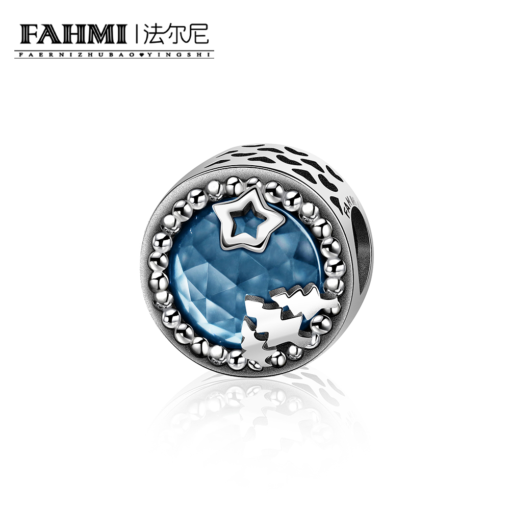 Fine Jewelry Hearty Ych 100% 925 Sterling Silver Concise Mysterious Stars Trees Dark Blue Radiant Hearts Zirconia Charm Beaded Original Jewelry Superior Materials Jewelry & Accessories