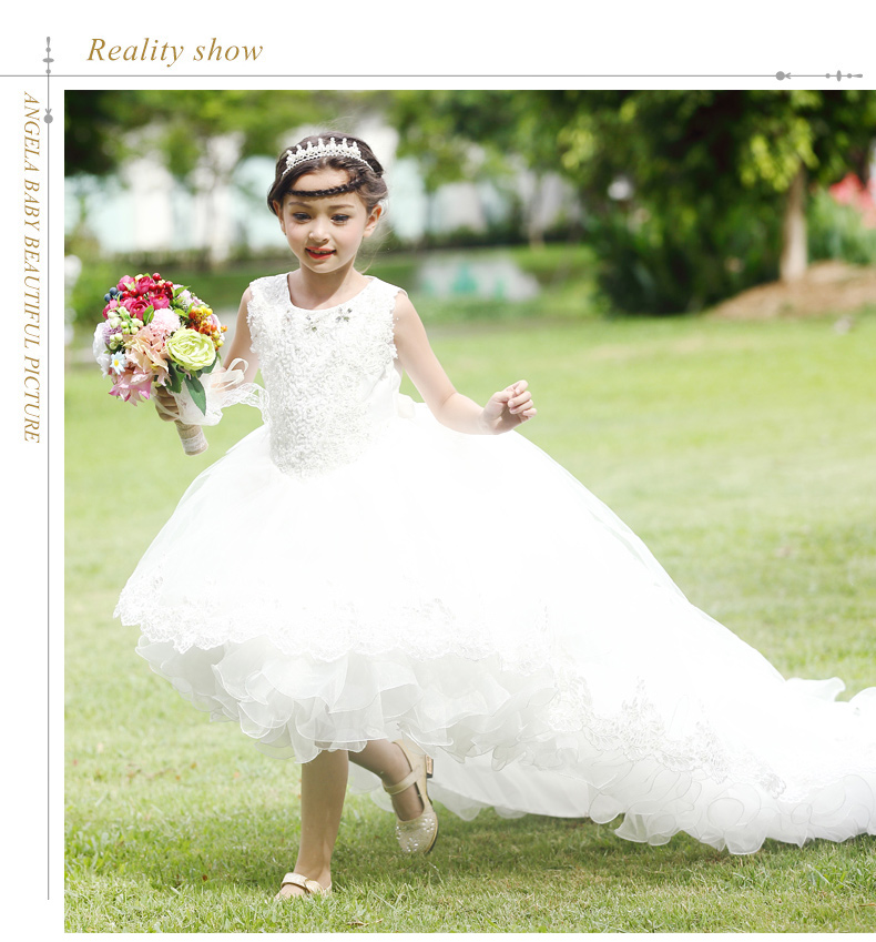 2017 White Lace with Long Tail Flower Girls Dresses High Low Crew Neck Tulle Zipper Back Girls Pageant First Communion Gown