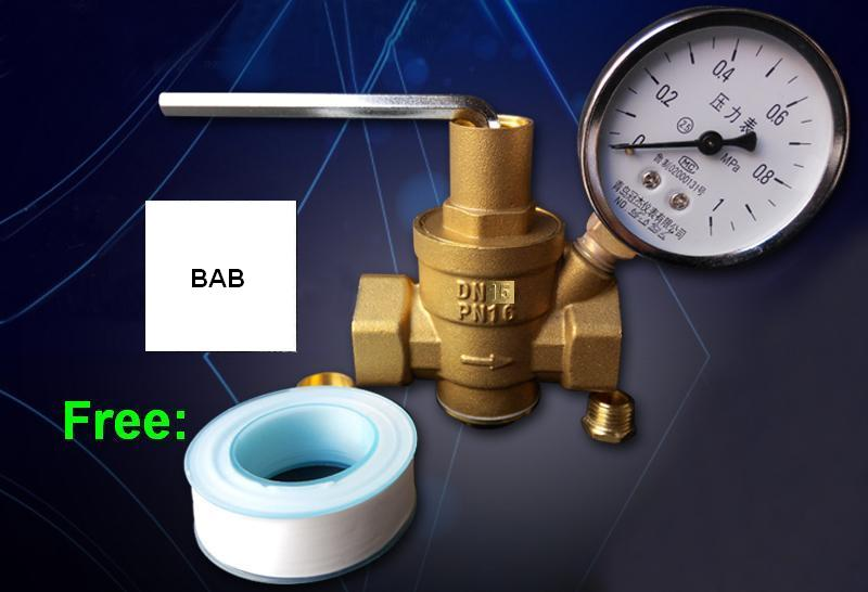 DN15 1/2 Brass Water Pressure Reducing valve/Regulator valve/Relief Valves/Pressure Maintaining Valve With manometer/Gauge high pressure freon pressure gauge working together with charging valve check valve to monitor the system leakage changes