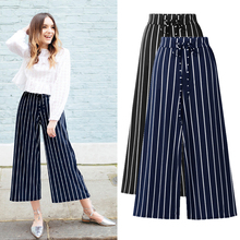 Summer Striped Women Pants Wide Leg Pants Female High Waist Pants Black Plus Large Size Pants 5XL 6XL Korean Style Clothes 2019 недорого