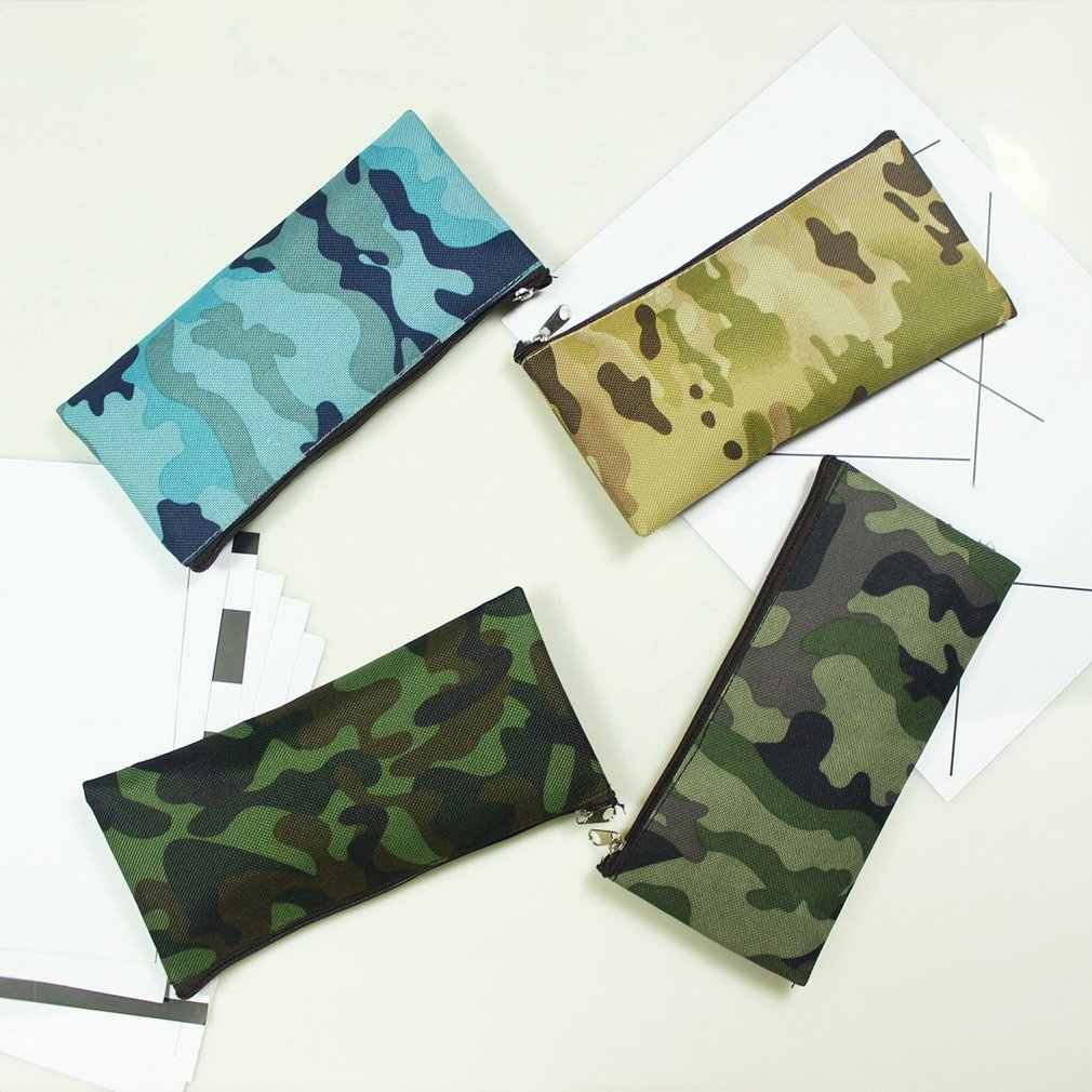 Simple Camouflage Pencil Case Small Fresh Large Capacity Pen Box Student Student Stationery Bag Pencil Bag Orange