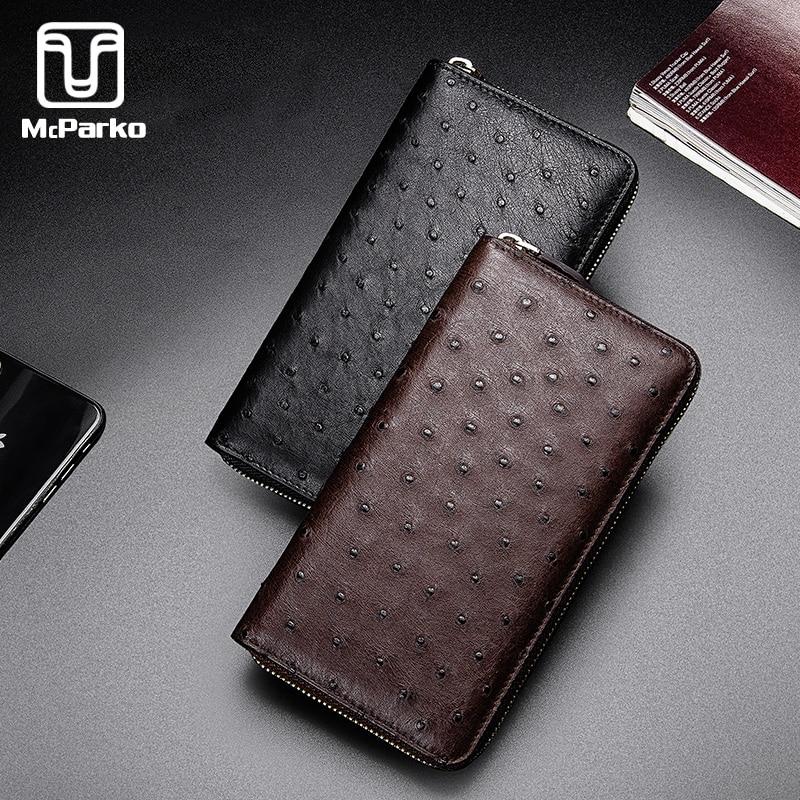 McParko Ostrich Wallet Genuine Leather Clutch Men Luxury Bag Phone Animal Skin Long Zipper Purse