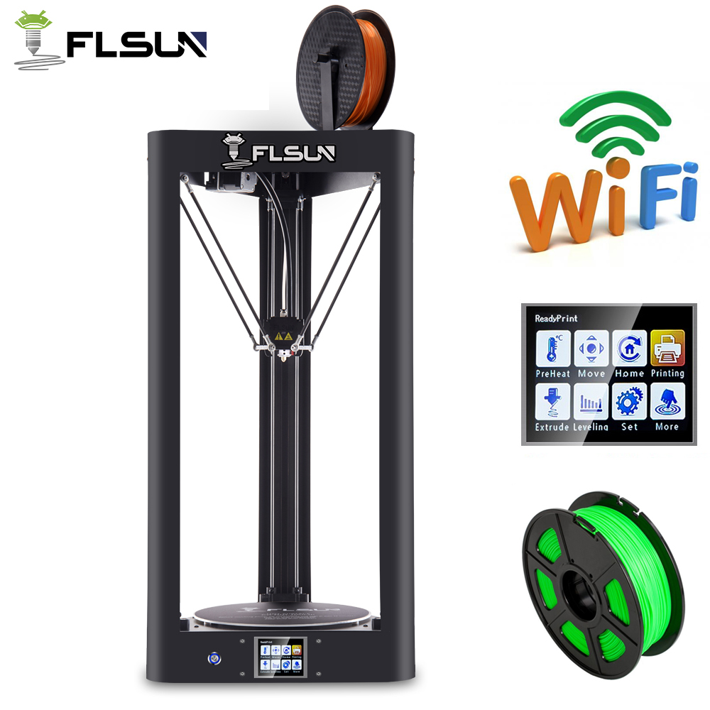 High Speed Flsun 3D Printer Metal Auto-Level Large Size Pre-assembly Flsun-QQ 3D Printer 3d Heated Bed Touch Screen Wifi Module flsun 3d printer big pulley kossel 3d printer with one roll filament sd card fast shipping