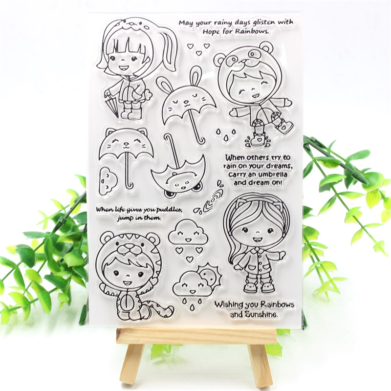 Little Girl Transparent Clear Silicone Stamps for DIY Scrapbooking/Card Making/Kids Crafts Fun Decoration Supplies