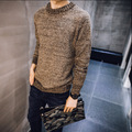 new winter colored wool sweater male solid  simple o-neck knitting pullovers