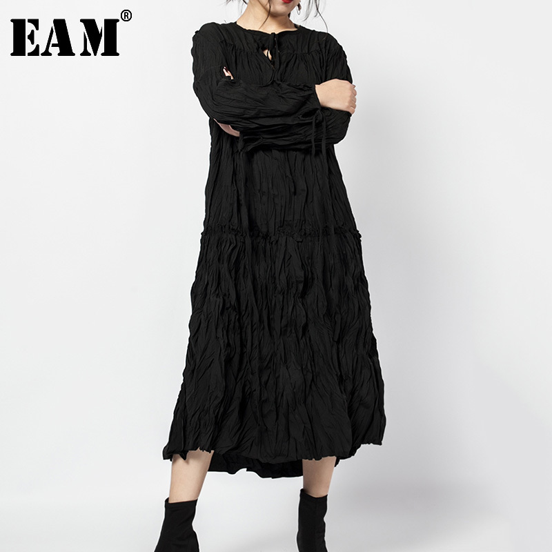 [EAM] 2019 Autumn Winter Woman Temperament Stylish Solid Black Color Long Sleeve Pleated Long Loose Dress All Match LG016