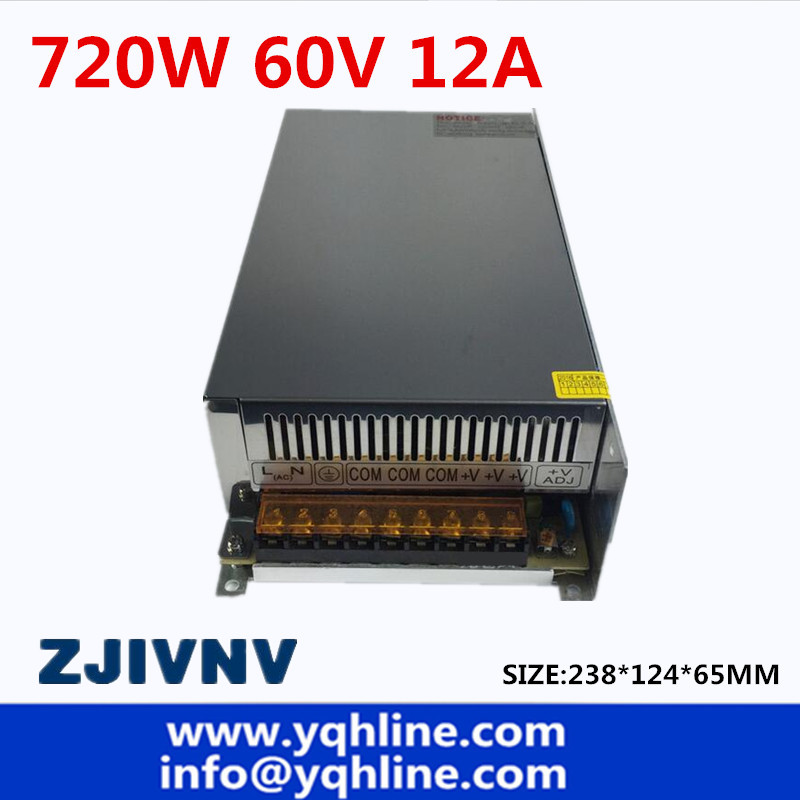 Switching Switch Power Supply DC 60V 12A 720W Voltage Transformer 220V AC DC60V SMPS For LED Strip Display Light CNC CCTV 20pcs lot phd3055e 60v 12a