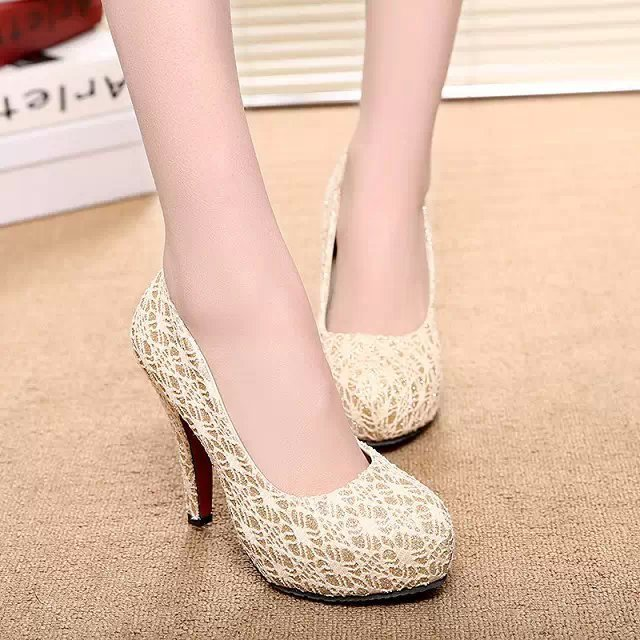 Fashion 2016 Spring Women High Heels Lace Slip On Women Pumps Sexy Ladies Party Wedding Shoes