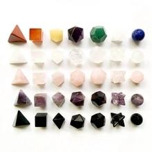 7 Chakra Stones Set Platonic Solids Sacred Geometry Merkaba Star Carved Natural Healing Reiki Crystals Figurines Home Decor
