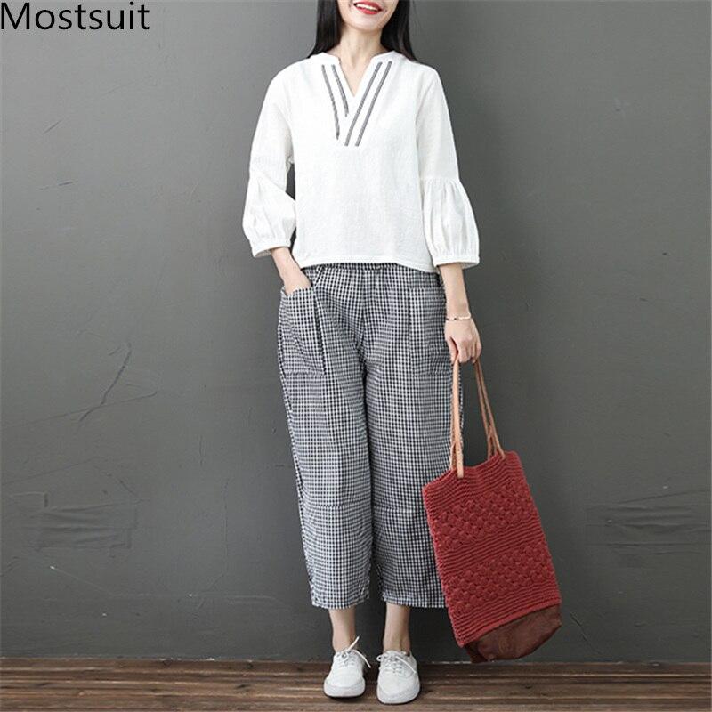 Spring Summer Cotton Linen 2 Piece Sets Women V-neck Blouses And Plaid Wide Leg Pants Suits Casual Loose Fashion Women's Sets 35