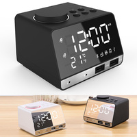 New Digital Alarm Clock Bluetooth Speaker FM Radio Dual USB Ports LED Display Indoor Thermometer @JH