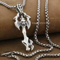 LINSION Skull Cross Key 925 Sterling Silver Mens Biker Rock Punk Pendant 9F016