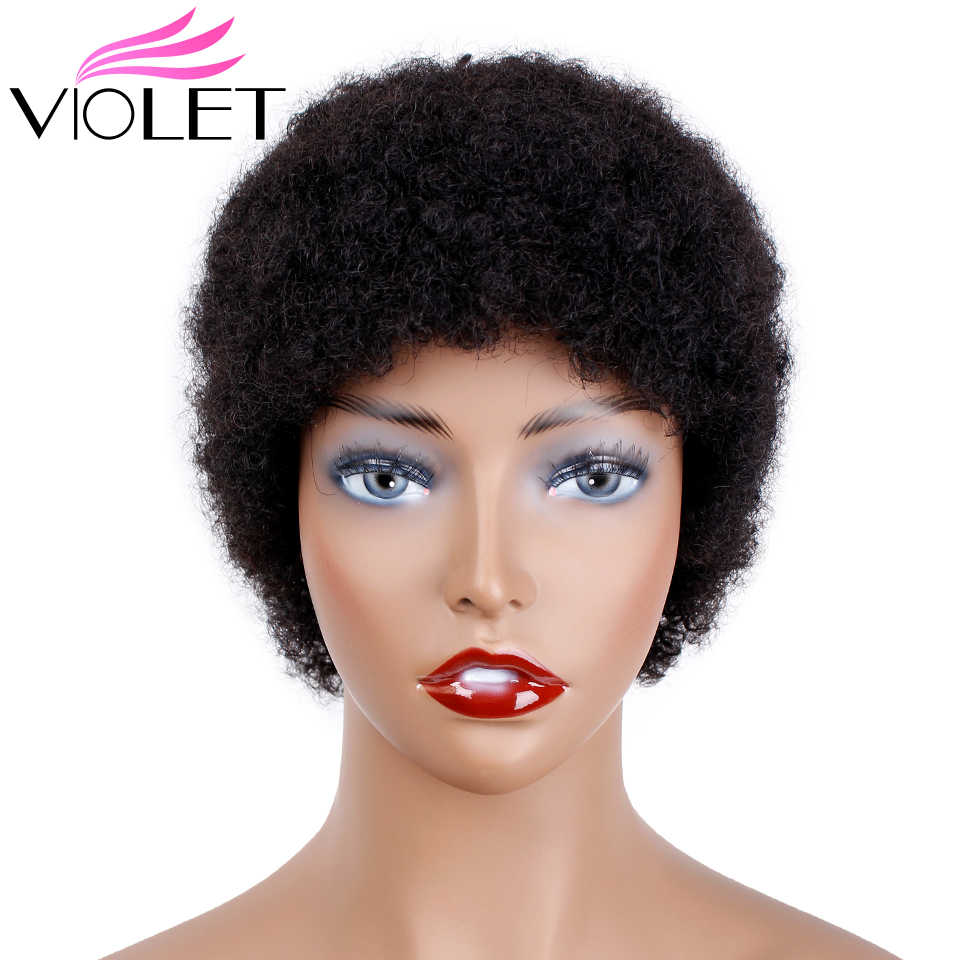 VIOLET Brazilian Short Kinky Curly Afro Wigs for Black Women 100% Human  Hair Wigs for d28348d9a4ef