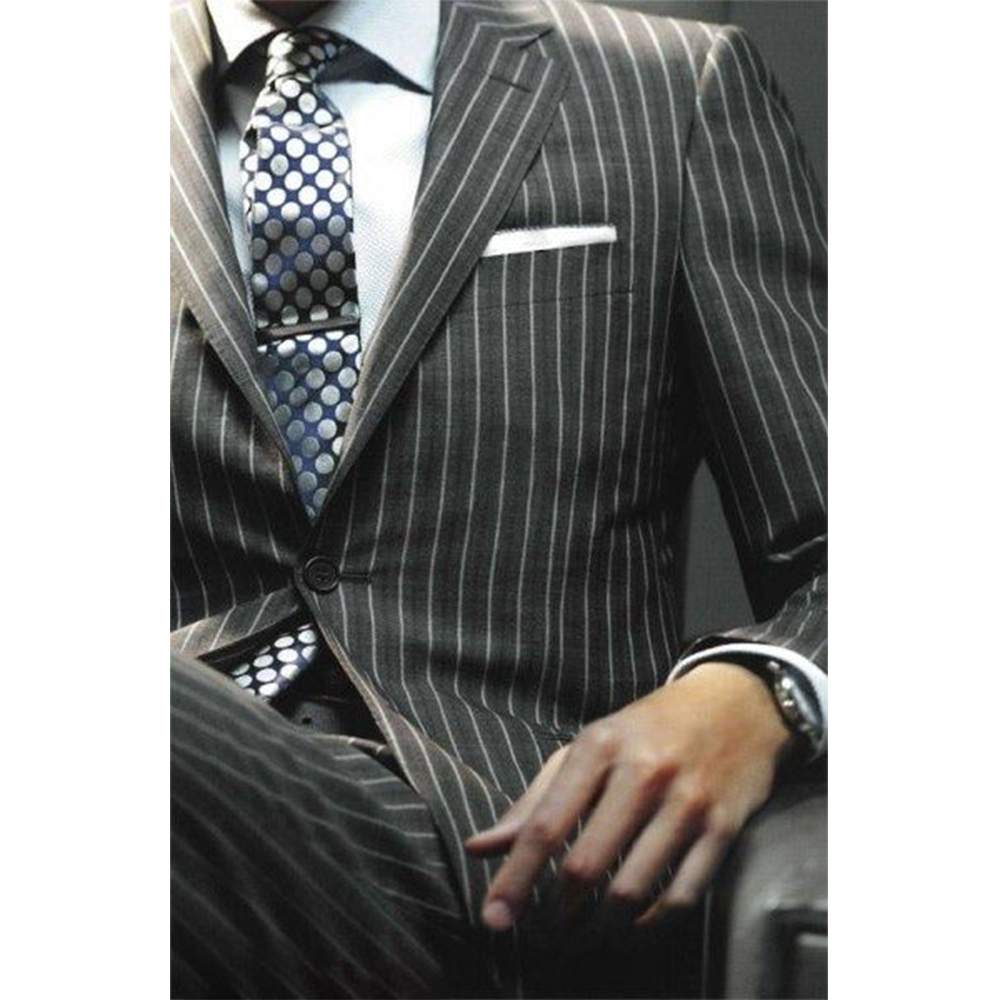 Sharp Dark Grey Chalk Stripe Men Suits Custom Made Striped Suit Chalk-striped Business Suits Wardrobe Essentials 2019