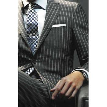 Sharp Dark Grey Chalk Stripe Men Suits Custom Made Striped Suit Chalk-striped Business Suits Wardrobe Essentials 2019 - DISCOUNT ITEM  0% OFF All Category