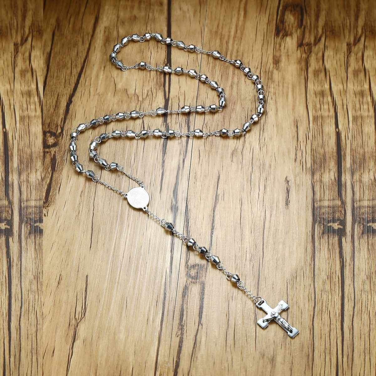 "30"" Stainless Steel Rosary Beads Cross Pendant Long Necklace for Men Crucifix Christian Catholic Church Jewelry"