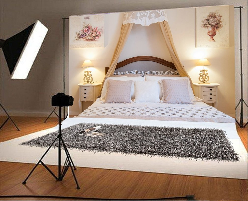 Tüketici Elektroniği'ten Arka Plan'de Fotoğraf Backdrop Iç Yatak Odası Romantik Yatak Fotoğraf Arka Plan Parti title=
