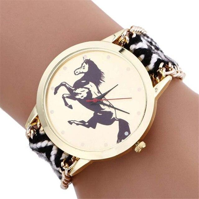Watches Women fashion 2018 quartz Wristwatch Fashion Woman Ladies Horse Rope Kni
