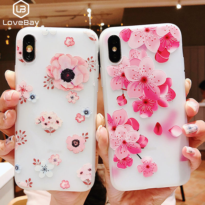 Lovebay <font><b>3D</b></font> Relief <font><b>Silicone</b></font> <font><b>Case</b></font> For <font><b>iPhone</b></font> 6 7 6S 8 Plus <font><b>X</b></font> XS MAX XR Flower Soft TPU Phone Cover For <font><b>iPhone</b></font> 6 7 Plus <font><b>Case</b></font> Fundas image