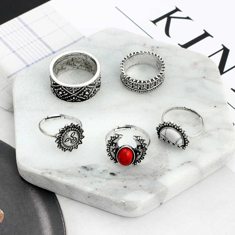 วินเทจMidiแหวนนิ้วตั้งแฟชั่นสีเงินกวางแหวนไม้สำหรับผู้หญิงสีดำหินBeachเครื่องประดับ