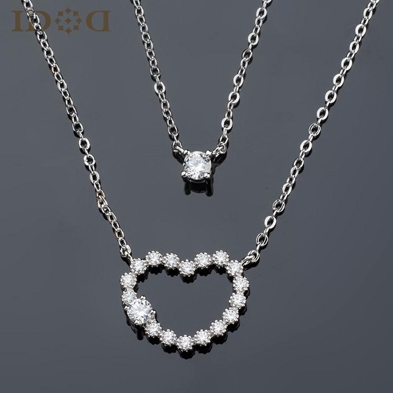 Modern girls jewelry, imitation double heart shaped pendants ...