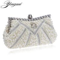 New Design Women Evening Bags Handmade Beaded Diamonds Handbags Soft Shell Design Day Clutches For Wedding